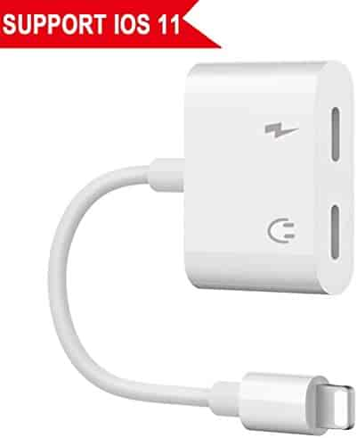 Lightning Jack Adapter, Lightning Adapter for iPhone X 10 iPhone 8/8Plus iPhone 7/7Plus Dual Adapter Audio Lightning Headphone Adapter.with Call & Audio & Charge Function.Compatible - Support iOS 11