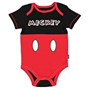 Assorted Disney Mickey Mouse Baby Boys Bodysuit Dress-Up Outfit (0-3 Months, Multi-color)