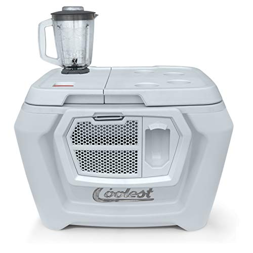 Coolest Cooler (60 Quart, White Russian) Premium ice Chest with Bluetooth Speaker, Oversized Wheels, telescoping Handle, Picnic Party Essentials, Bungee tie Down and Optional Blender and Solar lids