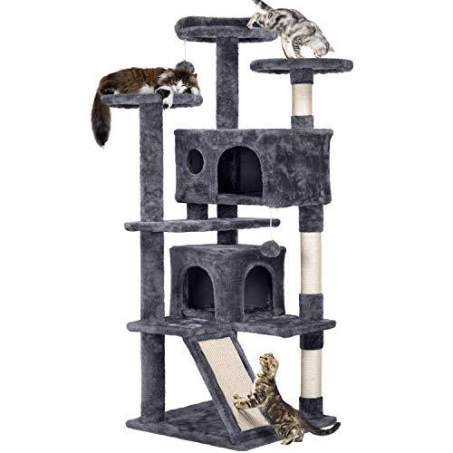 Yaheetech Katzen Kratzbaum mit 2 Katzenhöhlen 3 Aussichtsplattformen Katzenkratzbaum mittelhoch Spielsisal