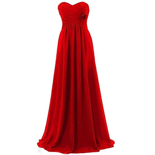 Shiningdress Women's Cheap Sweetheart Pleats Long Evening Gowns Size 4 Red