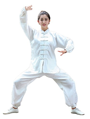 AvaCostume Womens Tradition Chinese Tai Chi Clothing Satin Kungfu Uniform, White, S