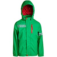 Urban Republic Boys Lightweight Waterproof Hooded Vinyl Raincoat Jacket, Green, Size 10/12
