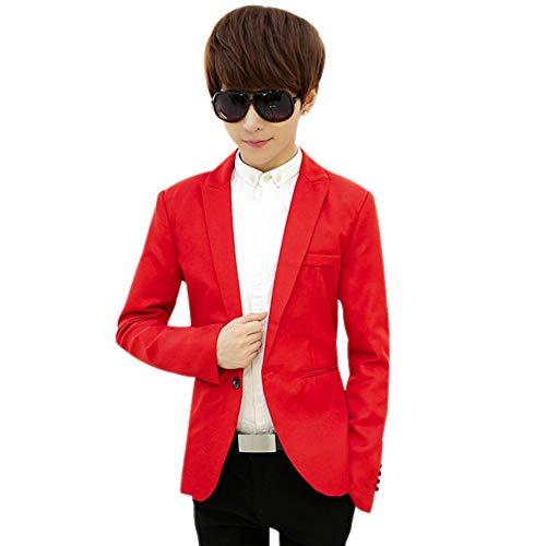 Fit Manches D'affaires Manteau Veste Hommes Blazer Costumes Décontractés Rouge Bouton Longues Un Bozevon Slim ZYFxvn