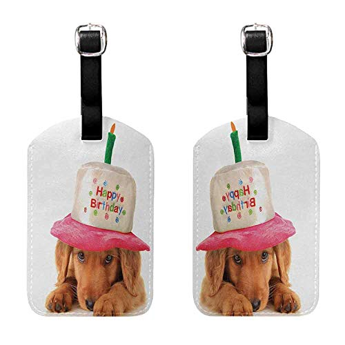 (Labels Tags With Strap Kids Birthday,Cute Puppy Wearing a Party Cone Shaped Hat with Candlestick Party Greetings,Multicolor Luggage Tags - 2 Pack)