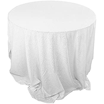 Uxcell Sparkle White Sequin Round Tablecloth Table Cloth Cover For Wedding  Party Decor 48 Inch