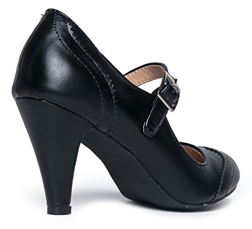 Oxford Adams Alhainen Nilkka J Round Musta Kissa Kärki Cute By Heels Jane Low Retro Black Pumput Selin Ankle Kym Pyöreä Mary Shoe With Pumps Kengän Kitten Hihna Toe Pu Strap Soma BdqWAqtf