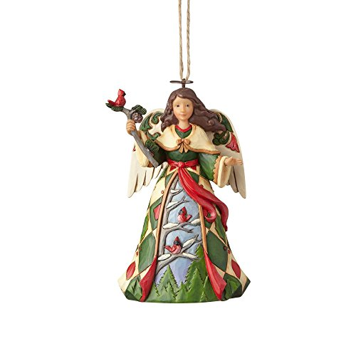 Enesco 4058827 Green Angel with Cardinals Ornament, Multicolor for $<!--$17.00-->