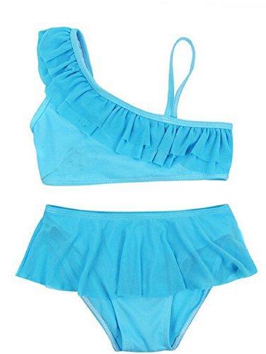 Dengken Girl's Swimwear Swimming Clothes Bikini Two-Piece Set Swimsuit Blue 5T