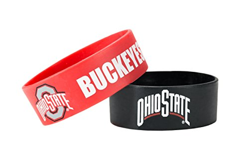 Bracelets College - NCAA Ohio State Buckeyes Wide Silicone Bracelets, 2-pack