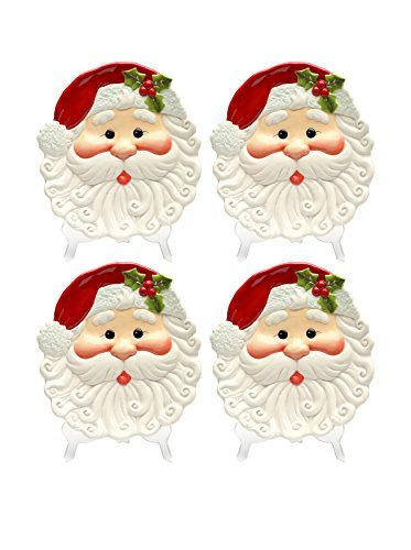 Cosmos Gifts 10635 Santa Plate, 8-3/8 by 7-3/4 by 1-1/4-Inch, Set of 4
