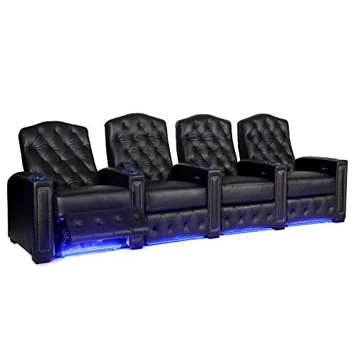 Octane Regal XL250 Power Recline Black Leather Home Theater Seating (Set of 4)