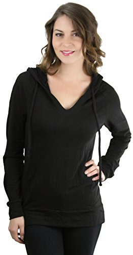 tobeinstyle-womens-reglan-ls-v-neck-drawstring-hoodie-black-large