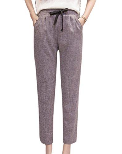 La Pantalones Huateng Cordón Lino Elástico Las Cómodos De Ocasionales Cintura Harén Mujeres Gris Respirables SBBw6q