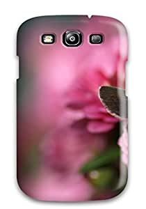 New Cute Funny Butterfly On Pink Rose Flower Flowers Bloom Floral Blossom Posy Case Cover/ Galaxy S3 Case Cover