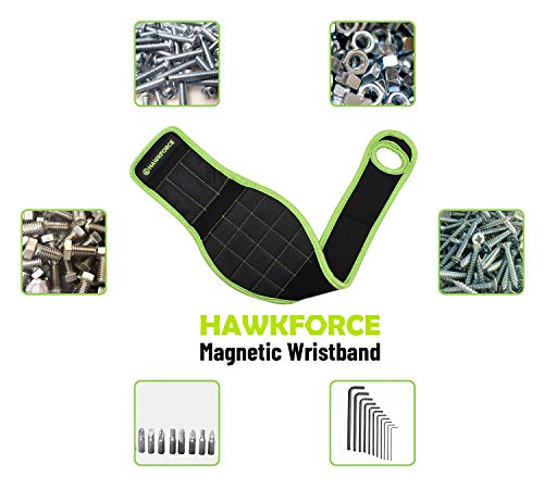 HAWKFORCE Magnetic Wristband with 16 Strong Magnets Easily Holding Screws, Nails, Drill Bits,Fasteners, Scissors,Other Small Tools, Useful Tool for Men,Women,Electrician Carpenter,DIY Handyman