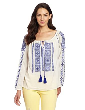 VELVET BY GRAHAM & SPENCER Women's Embroidered Crinkle Gauze Peasant Top, Milk/Blue, Petite
