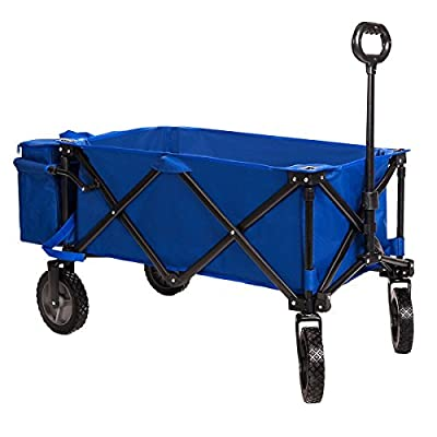 Timber Ridge Collapsible Beach Wagon Folding Camping Utility Cart with Cooler Ice Bag for Outdoor Supports up to 150lbs, Blue,Heavy Duty from Timber Ridge