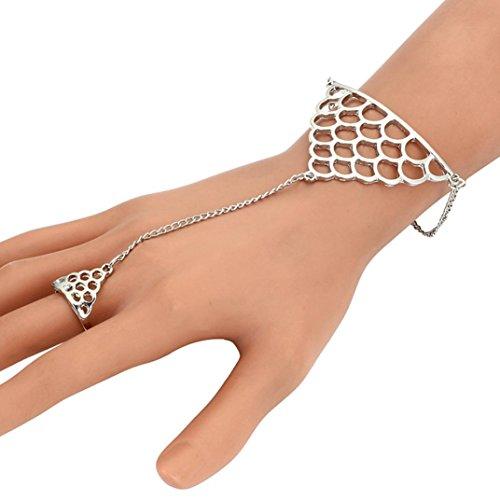 Beuu Female Fish Scale Ring Chain Fashion Punk Bracelet (Silver)
