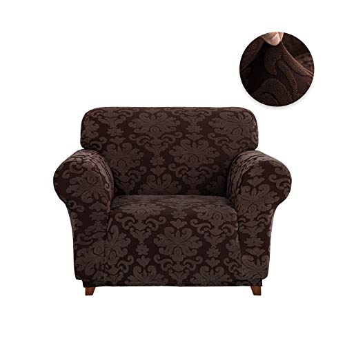 CHUN YI 1-Piece Stretch Jacquard Damask Elegant Collection Sofa Slipcover Easy Fitted Couch Cover Stretchable Durable Furniture Protector (Chair, Chocolate) ()