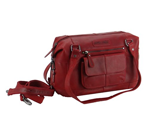 HILL BURRY Damen Schultertasche Shopper Bag Leder Vintage 3088 rot