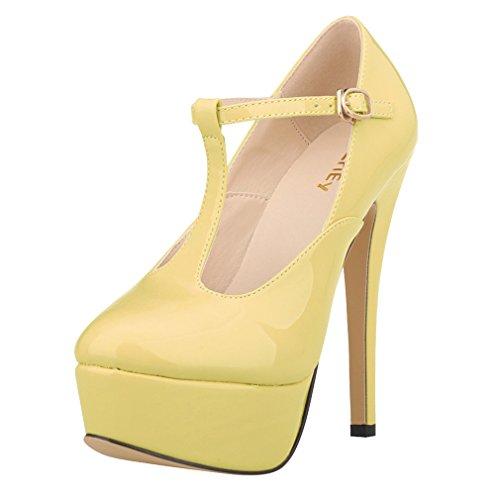 Patentes Cuero la Plataforma de Tac de Mujeres Zapatos T Correa la de de Xianshu bar R5qzw8tx