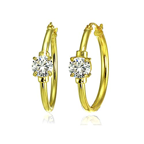 Yellow Gold Flashed Sterling Silver Genuine, Created, or Simulated Gemstone Solitaire 25mm Hoop Earrings