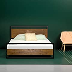 The new iron line platform bed by Zinus will instantly update any bedroom. With the cherry finished pine wood headboard and footboard, sleek metal structure, and wood slats, this platform bed provides great support for your memory foam, latex...