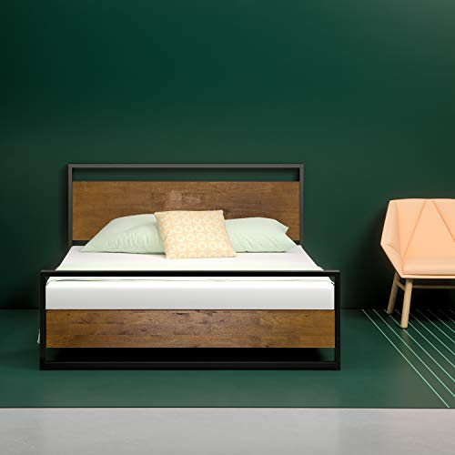 Zinus Suzanne Metal and Wood Platform Bed with Headboard and Footboard / Box Spring Optional / Wood Slat Support, Full (Bedroom Oak Bed Frame)