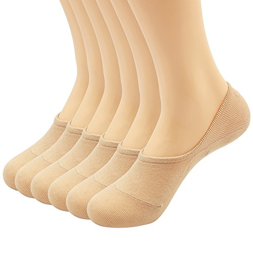 Women's 3-9 Pairs Casual Thin No Show Socks Non Slip Flat Boat Line (Beige C-6 Pairs, US women's shoe sizes 6.5-9) ()