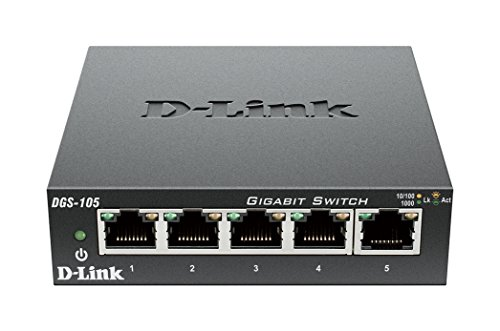 D-Link DGS-105/E 5-Port Layer2 Gigabit Switch (25 x 21,3 x 6,8 cm, 2.75 Watt) schwarz