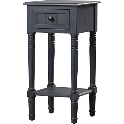 End Table with Storage Drawer, Indoor Plant Stand, Living Room Decor, Colored (Antique Navy) by Simple Living