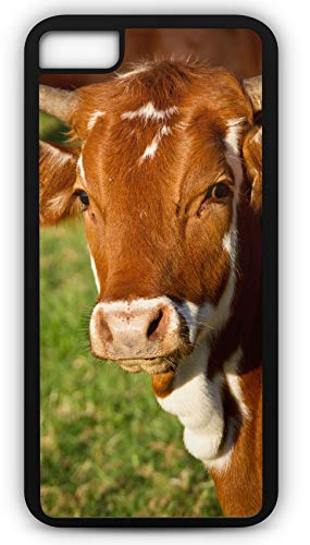 iPhone 8 Case Cow Calf Cattle Stock Brown White Horns Customizable by TYD Designs in Black Plastic Black Rubber Tough Case