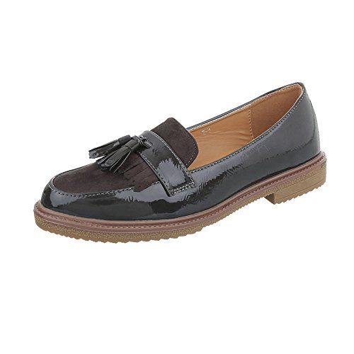 W Ital Flats Loafer Grey Block Moccasins Heel Dark 1 Women's 1 Design BnnwrxUz