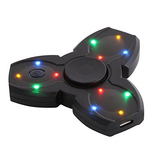 Greatlizard Fidget LED Light EDC Music Spinner Wireless Bluetooth Galaxy Sparkling Flash Lithium Battery Charge Spinner Speaker Black (New Series)