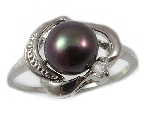 - Orien Jewelry Black AA 9mm Freshwater Cultured Pearl & Cubic Zirconia Ring Size 6-8 Cultured Pearl Rings for Women