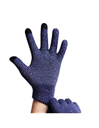 Gloves Men's Winter Plus Velvet Anti-Skid Windproof Warm Outdoor Riding Gloves (Color : Blue)