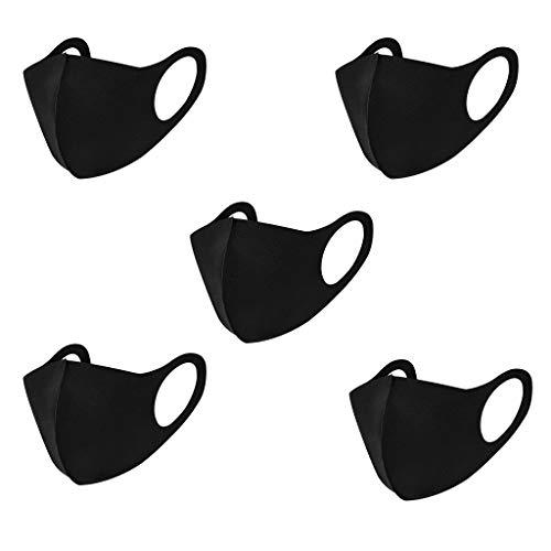 MiMiey 5 Stück Staub Fashion Unisex Face Wiederverwendbare und Waschbare Blume Print Atmungsaktive Baumwolle (Schwarz)