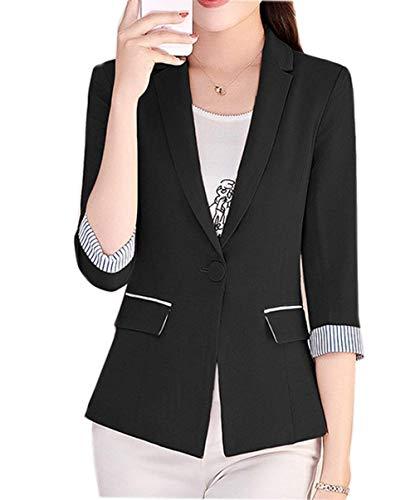 4 Moda Strisce Da Manica Fit Con Eleganti Autunno Tailleur 3 Primaverile Business Giaccone Blazer Colori Cappotto Button Classica Donna Schwarz Giacca Giuntura Solidi Slim Tasche qwF7n
