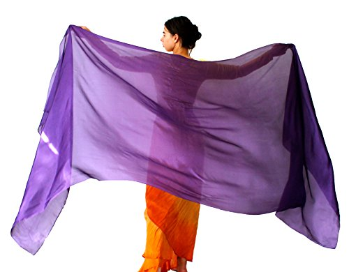 - Nahari Silks Womens 100% Silk Dance Scarves Shawls Wraps Solid Color Purple 108