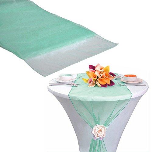 BERTERI 10pcs Organza Mint Green Table Runner for Wedding Decoration Banquet Venue -