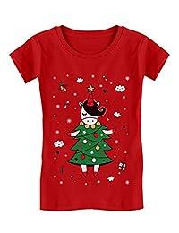 Tstars - Unicorn Xmas Tree Dress Cute Ugly Christmas Girls' Fitted Kids T-Shirt