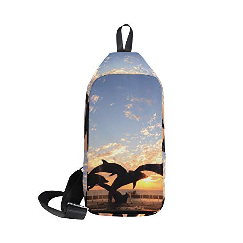 Bag Shoulder For Chest Body Front Men Waterproof Sling Backpack Cross amp; Women Small Statue Sunset Of Bennigiry Dolphin OpqAwA4