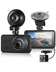 ULU Car Dash Cam FHD 1080P Front & 720P Rear Dual Camera 170°+120°Digital Dashboard Camera Car DVR with 3 inch IPS Screen Night Vision G-Sensor Parking Monitor WDR Loop Recording