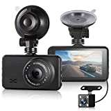 ULU Dash Cam 1080P Front and Rear 290°Dual Lens Super Wide Angle Car DVR Full HD Car Dashboard Camera Recorder with 3 Inch IPS Screen,G-Sensor,WDR,Loop Recording,Night Vision,Car Black Box