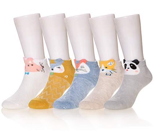 Eocom 5 Pack kids Girls boys Low Cut Cotton Soft Cartoon Cute Breathable Socks (Animal C, 1-3 Years) ()