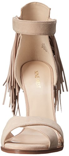 Nine West Mujeres Hustle Punta Abierta Ocasión Especial Piel Sandalias con Correa de Tobillo, , Talla Light Natural/Light Natural