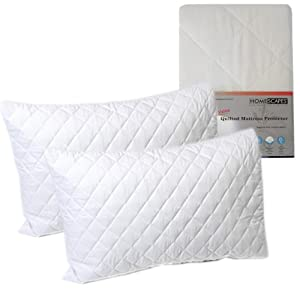 Homescapes Polycotton Quilted Pillow Protectors 2 pack