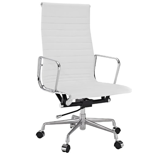 Genuine Leather Desk (Modway Ribbed High Back Office Chair in White Genuine Leather)