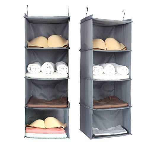 d94a7f1c9430 Simple Homeware Hanging Closet Sweater Storage Oxford Cloth Fodable  Organizer 12''W x 12''D x 33''H Gray (4 Shelves)